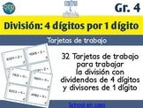 Spanish Division Task Cards 1 Digit Divisor   Tarjetas de