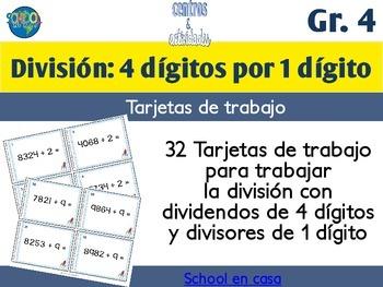 Spanish Division Task Cards 1 Digit Divisor | Tarjetas de