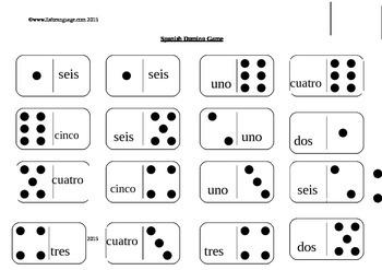 Spanish Domino Game- numbers 1-6