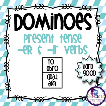 Spanish Dominoes - ER & IR Verbs {HARD GOOD}