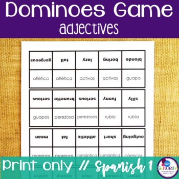 Spanish Dominoes Game {Adjectives}