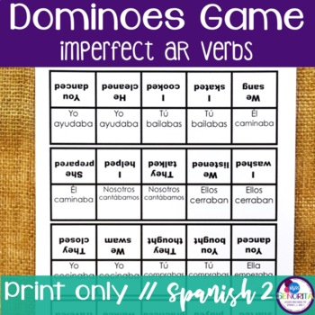 Spanish Dominoes Game {Imperfect -AR Verbs}