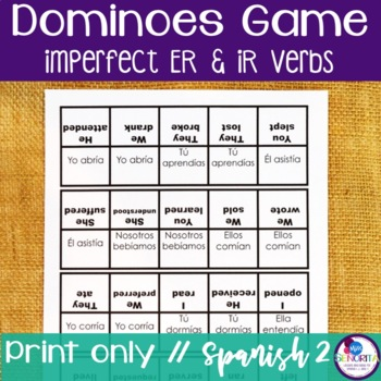 Spanish Dominoes Game {Imperfect -ER & -IR Verbs}