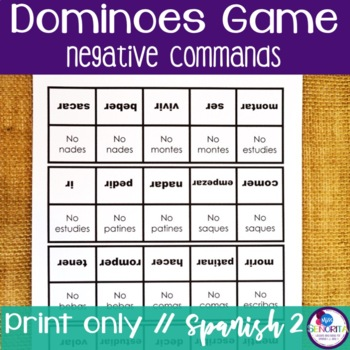 Spanish Dominoes Game {Negative Commands}