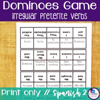 Preterite Irregular Games Teaching Resources Teachers Pay Teachers