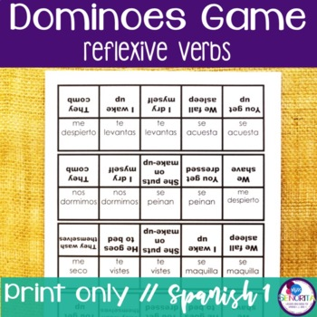 Spanish Dominoes Game {Reflexive Verbs}
