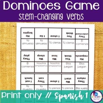 Spanish Dominoes Game {Stem-Changing Verbs}