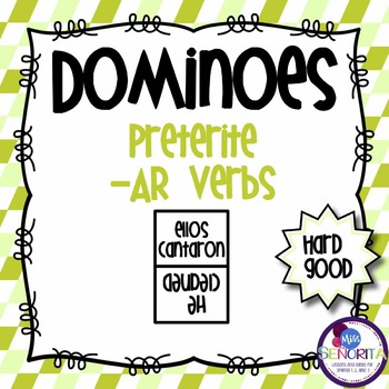 Spanish Dominoes - Preterite -AR {HARD GOOD}
