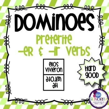 Spanish Dominoes - Preterite -ER & -IR {HARD GOOD}