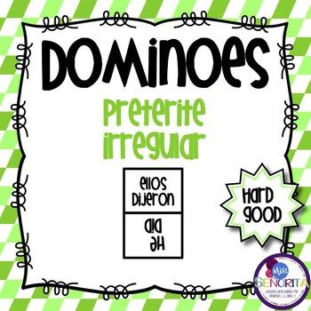 Spanish Dominoes - Preterite Irregular {HARD GOOD}