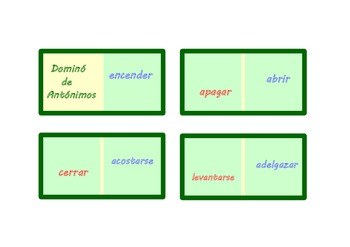 Spanish Dominoes with 30  pairs  of opposites (verbs).