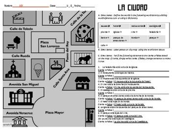 Spanish Dónde Está Reading Practice | Location Practice | Novice High