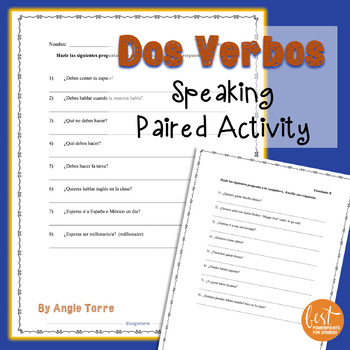 Spanish Dos Verbos Speaking Paired Activity - Using Two Verbs in a Sentence