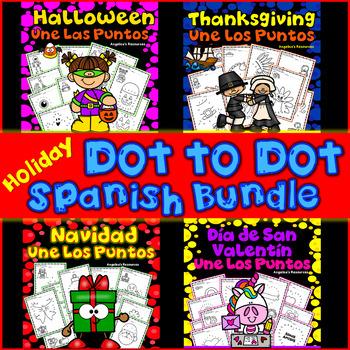 Spanish Dot to Dot Printables: Halloween, Thanksgiving, Christmas, Valentine's
