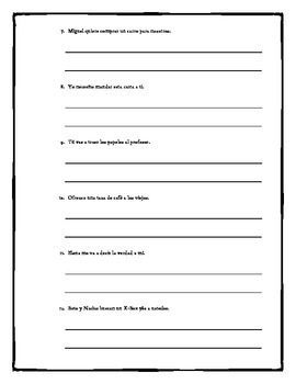 Spanish Double Object Pronoun Practice Worksheet