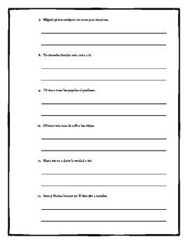 Spanish Double Object Pronoun Practice Worksheet