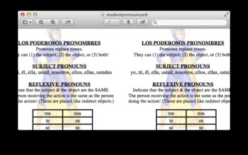 Spanish:  Double Object Pronouns (Indirect/Direct Object Pronouns)
