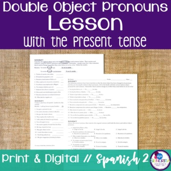 Spanish Double Object Pronouns Lesson with the Present Tense
