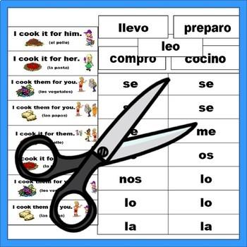 Spanish Double Object Pronouns Manipulatives