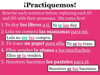Spanish Double Object Pronouns Powerpoint with the Present Tense