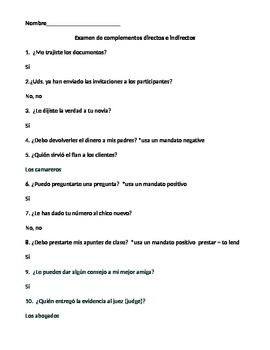 Spanish Double object pronouns worksheet or quiz