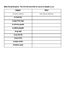 Spanish Speed Drills: Singular to Plural Nouns Speed Drill