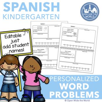 Spanish Dual Language EDITABLE Word Problems for Kindergarten