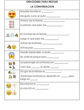 Spanish Dual Language, Emoji sentence stems, conversation starters