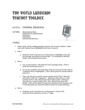 Spanish E-I Boot Verb Choral Reading