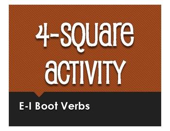 Spanish E-I Boot Verb Four Square Activity