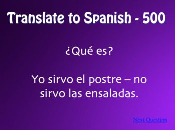 Spanish E-I Boot Verb Jeopardy-Style Review Game
