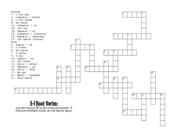 Spanish E-I Boot Verb Puzzle Pack