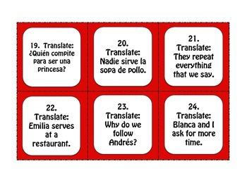 Spanish E-I Boot Verb Task Cards