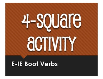 Spanish E-IE Boot Verb Four Square Activity