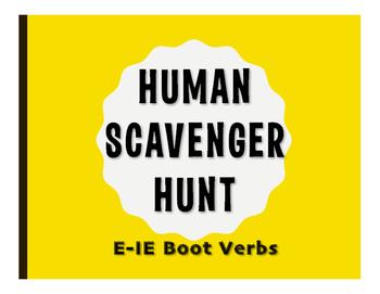 Spanish E-IE Boot Verb Human Scavenger Hunt