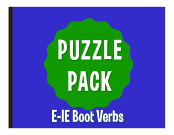 Spanish E-IE Boot Verb Puzzle Pack
