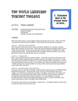 Spanish E-IE Boot Verb Task Cards