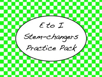 Spanish E --> i Stem-Changing Verbs Worksheets Practice Pack