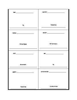 Spanish ER IR Present Tense Verb Drawing Worksheet