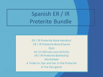 Spanish ER / IR Preterite Bundle