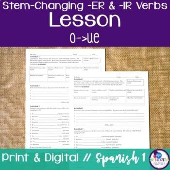 Spanish -ER & -IR Stem-Changing Verbs Lesson:  O to UE