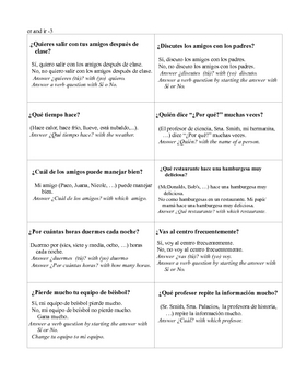 Spanish ER IR Verbs  Modified Speed Dating   Whole Class speaking
