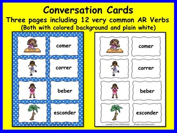 Spanish ER & IR Verbs Present Tense: 7 Printables and 24 Conversation Cards