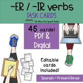 Spanish -ER / -IR Verbs Task Cards! 45 Cards! Present Tense, Editable cards incl
