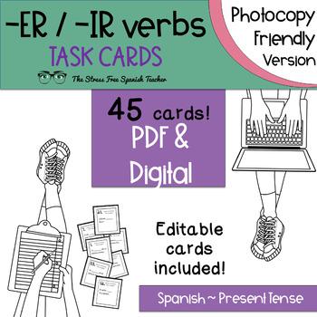 Spanish -ER / -IR Verbs Task Cards! 45 Cards! Present Tense INK FRIENDLY VERSION