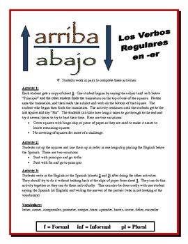 Spanish ER Verb Partner Activities (Speak, Read, Listen, Write)