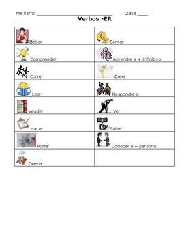 Spanish -ER Verb Student Note Sheet