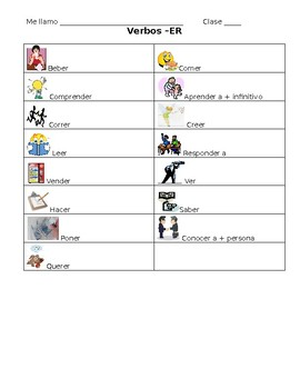 Spanish -ER Verb Student Note Sheet