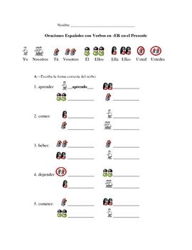 Spanish ER Verb Writing Packet