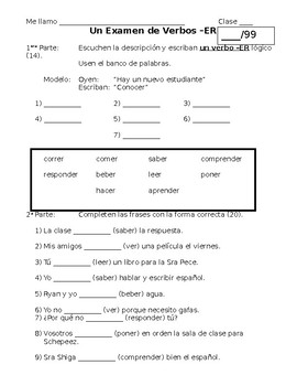 Spanish -ER Verb and Conjugation TEST